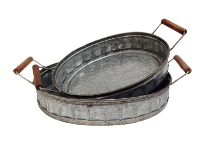 Oval Corrugated Metal Tray set of 2